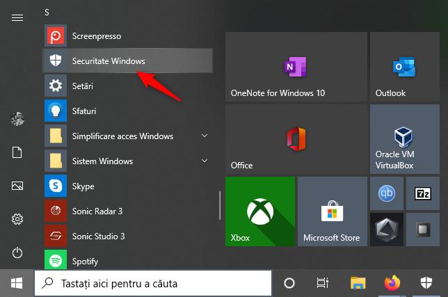 Scurtătura Securitate Windows din Meniul Start