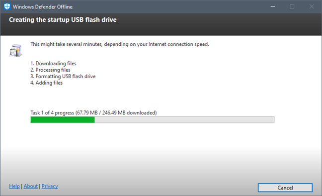 Windows Defender Offline creează stick-ul de memorie USB