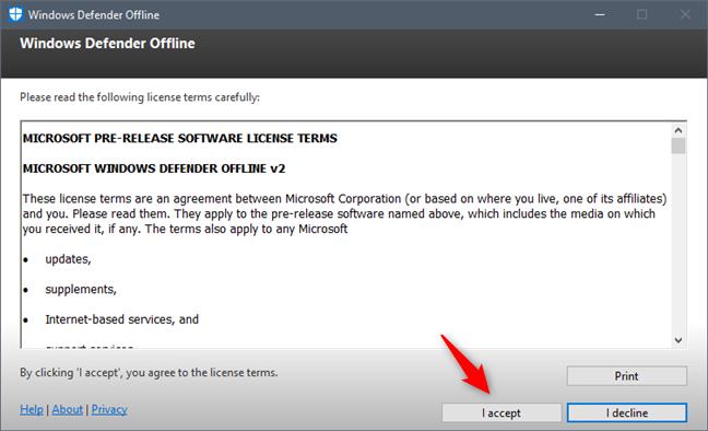 Termenii de licențiere pentru Windows Defender Offline