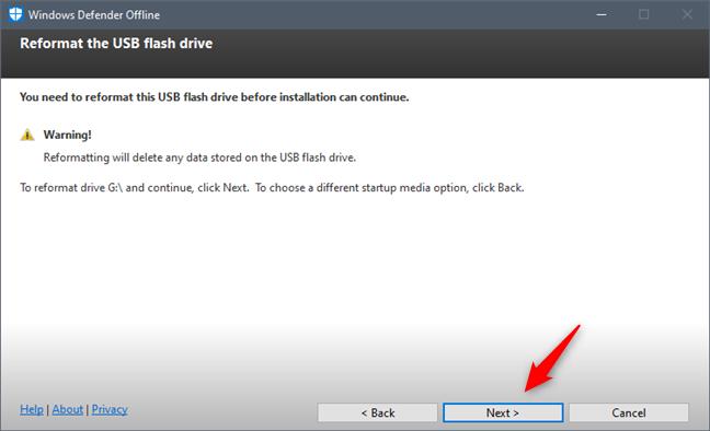 Windows Defender Offline are nevoie să formateze unitatea USB