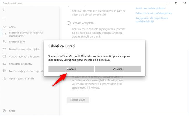 Microsoft Defender Offline îți cere să îți salvezi lucrul
