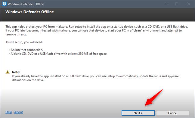 Expertul pentru instalarea Windows Defender Offline