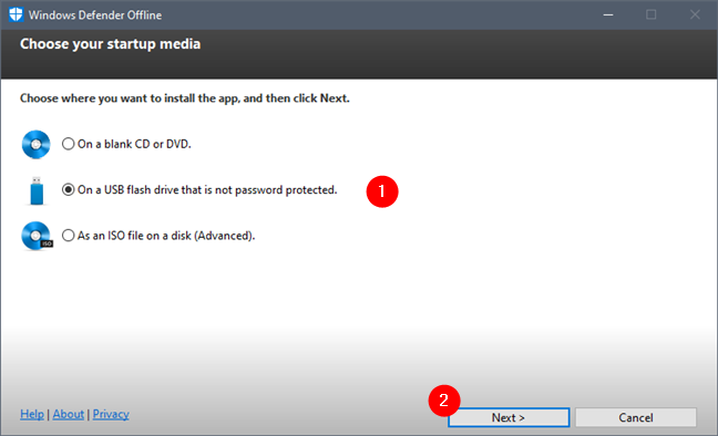 Alege unde se instalează Windows Defender Offline