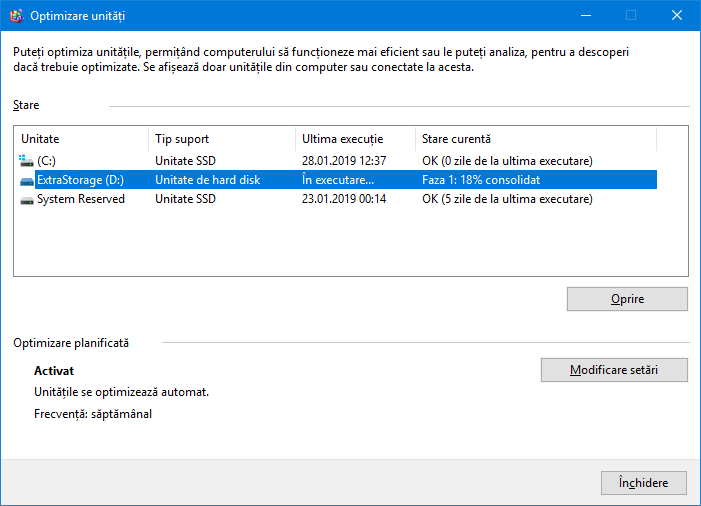 Optimizare (defragmentare) de hard-disk