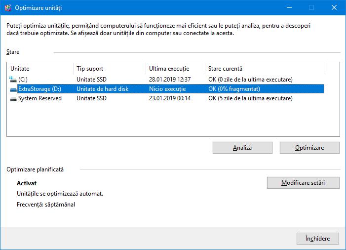Selectează un hard disk pentru optimizare
