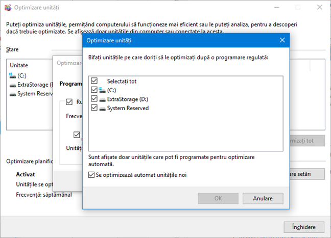 Selectează unități de disc pentru optimizare