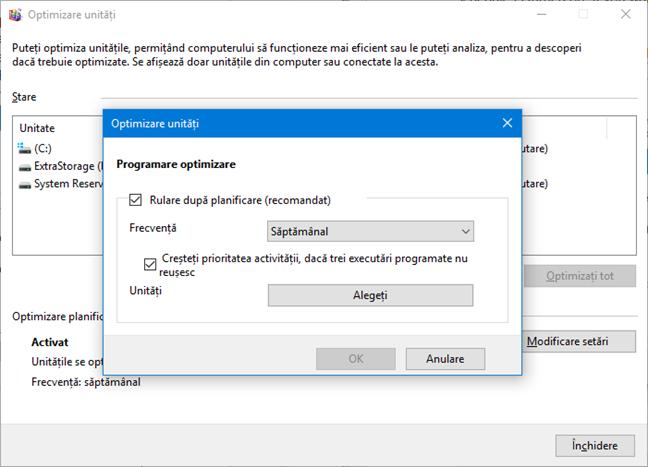 Programarea optimizării pentru unitățile de disc