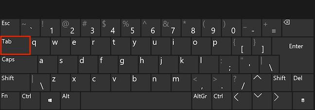 Apasă Tab pe tastatură de câteva ori