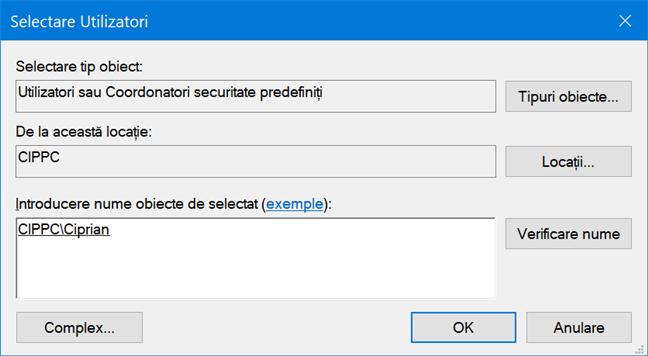 Verifică dacă există în Windows un cont cu numele introdus