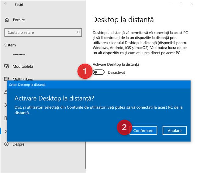 Activare Desktop la distanță în Windows 10