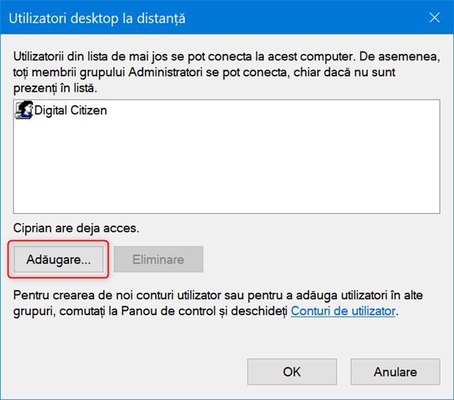 Dă clic pe Adăugare pentru a adăuga un cont pentru Desktop la distanță