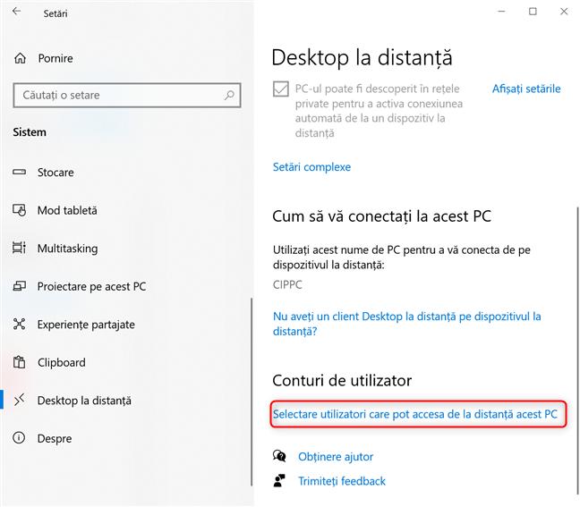 Selectare utilizatori care pot accesa de la distanță acest PC