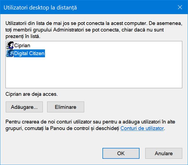 Utilizatorii care au acces prin Desktop la distanță