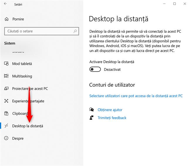 Apasă pe Desktop la distanță