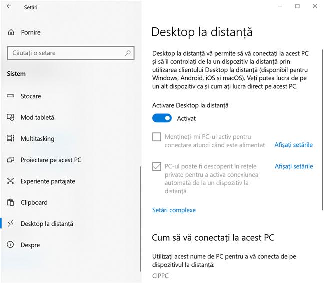 Setările pentru Desktop la distanță, din Windows 10