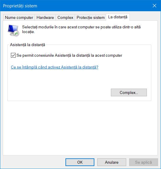 Setările pentru Desktop la distanță lipsesc din Proprietăți sistem