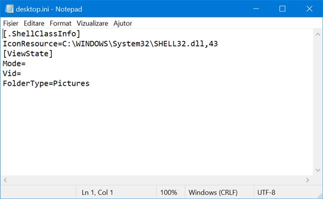Conținutul unui fișier desktop.ini dintr-un folder cu o pictograma personalizată