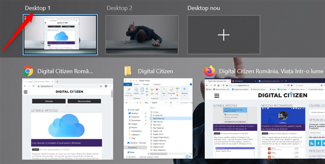 Apasă pe numele unui desktop pentru a-l schimba