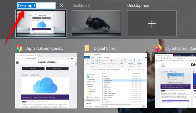 Editarea numelui unui desktop virtual