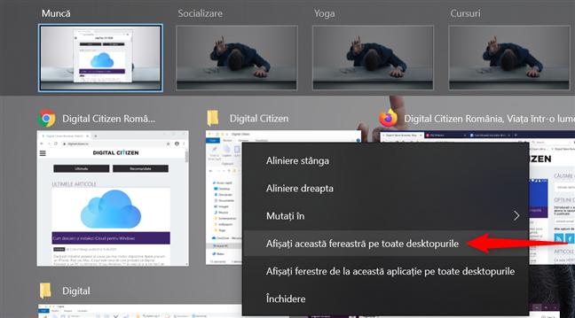 Afișează fereastra pe toate desktopurile