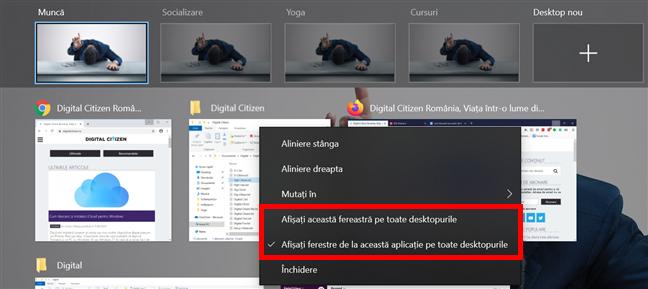 Scoate bifa din dreptul primei opțiuni pentru a nu mai afișa fereastra pe toate desktopurile