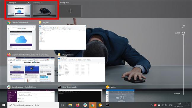 Desktopurile tale virtuale sunt afișate în Vizualizare activități
