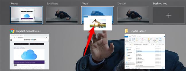 Trage și plasează o fereastră pe un desktop virtual pentru a o muta