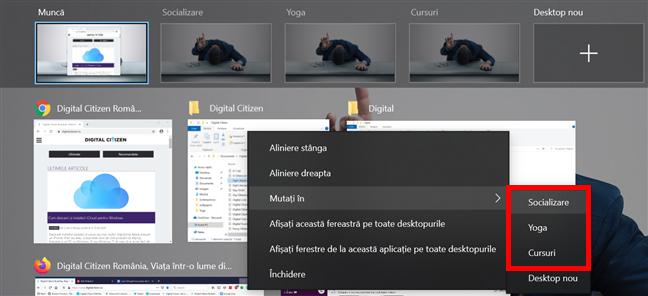 Mută o fereastră pe alt desktop virtual în Windows 10