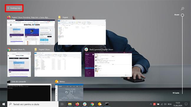Apasă + Desktop nou pentru a începe să folosești mai multe desktopuri