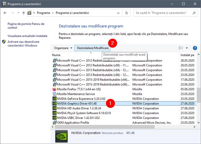 Ștergerea driverului NVIDIA Graphics din Panoul de control