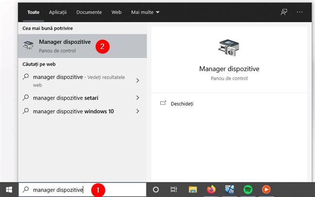 Deschiderea Managerului de dispozitive în Windows 10