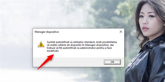 Deschiderea Manager Dispozitive în Windows 10 folosind un cont standard