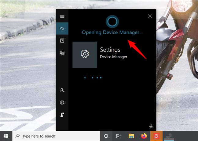 Cum îi ceri Cortanei să deschidă Manager Dispozitive