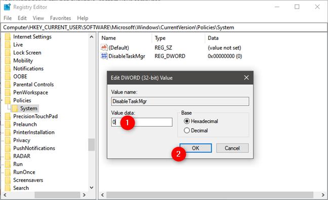 Activarea Managerului de activități din Registrul Windows