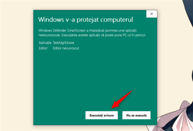 Alegerea de a executa oricum TaskMgrEd, în notificarea SmartScreen