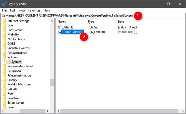 Elementul DisableTaskMgr din Registrul Windows