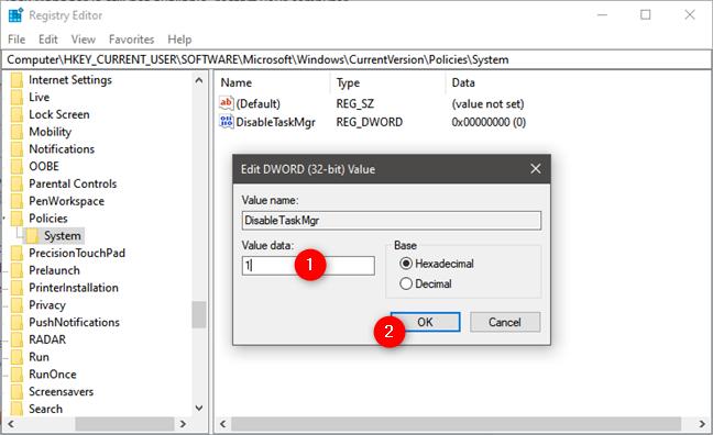 Dezactivarea Managerului de activități din Registrul Windows