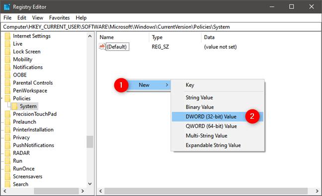Crearea elementului DisableTaskMgr în Registrul Windows