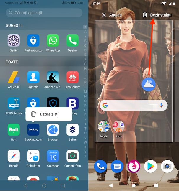 Dezinstalarea aplicației din ecranul Toate Aplicațiile