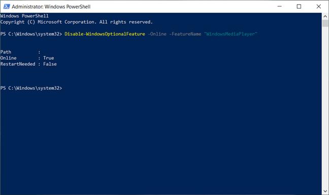 Ștergerea Windows Media Player din Powershell