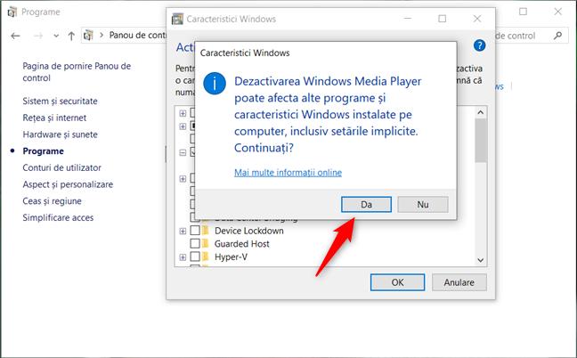 Confirmarea dezinstalării Windows Media Player