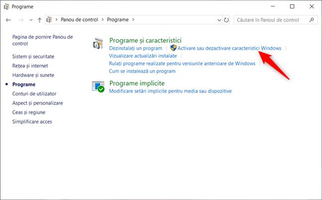 Apăsare pe legătura Activare sau dezactivare caracteristici Windows