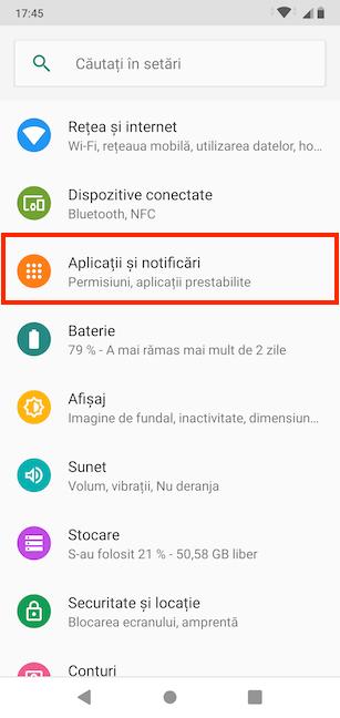 Apasă pe Aplicații și notificări