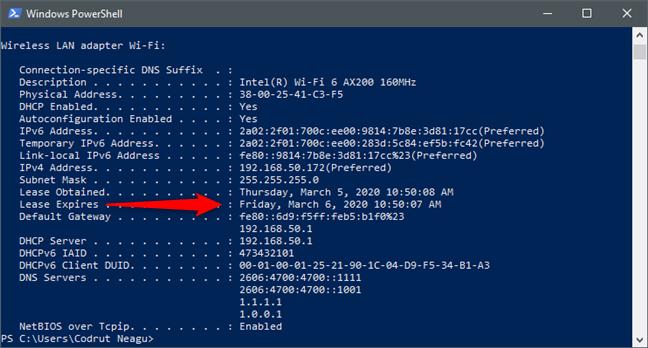 Data și ora DHCP Lease Expires (Atribuire expiră) a unei plăci de rețea