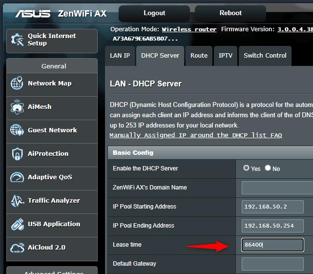 Setarea DHCP lease time (Durată atribuire) pe un router