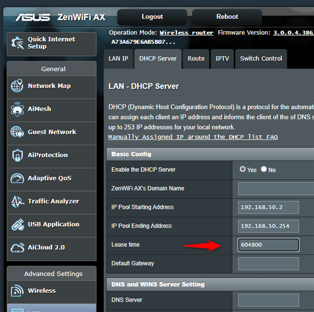 Schimbarea DHCP lease time (durata atribuire) pe un router