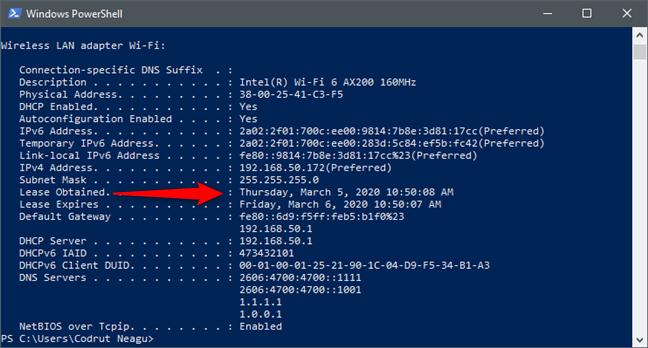 Data și ora DHCP Lease Obtained (Atribuire obținută) a unei plăci de rețea