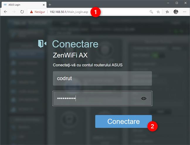 Ecranul de autentificare la interfața web a unui router