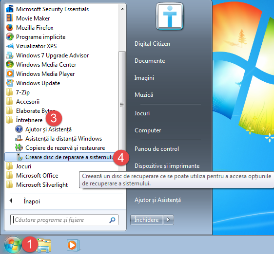Windows, disc reparare