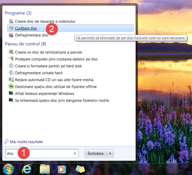 Windows, Disk Cleanup, Curatare disc